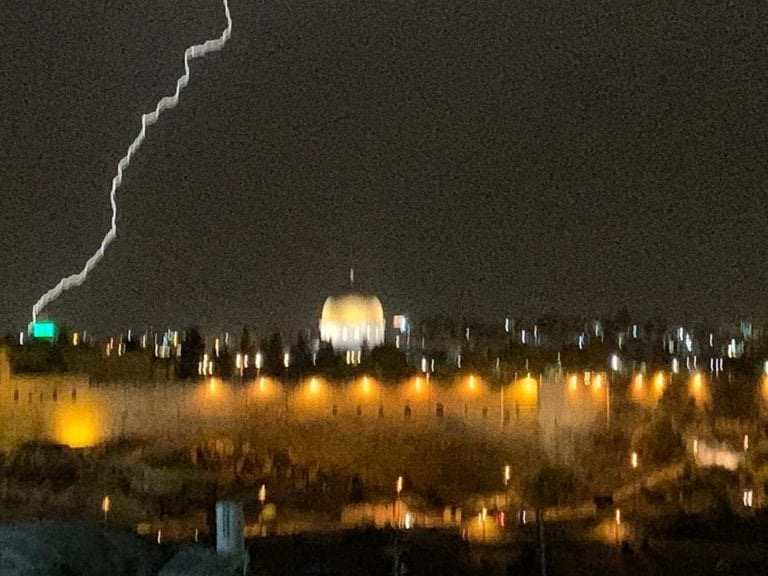 Lightning flashes over the Temple Mount.