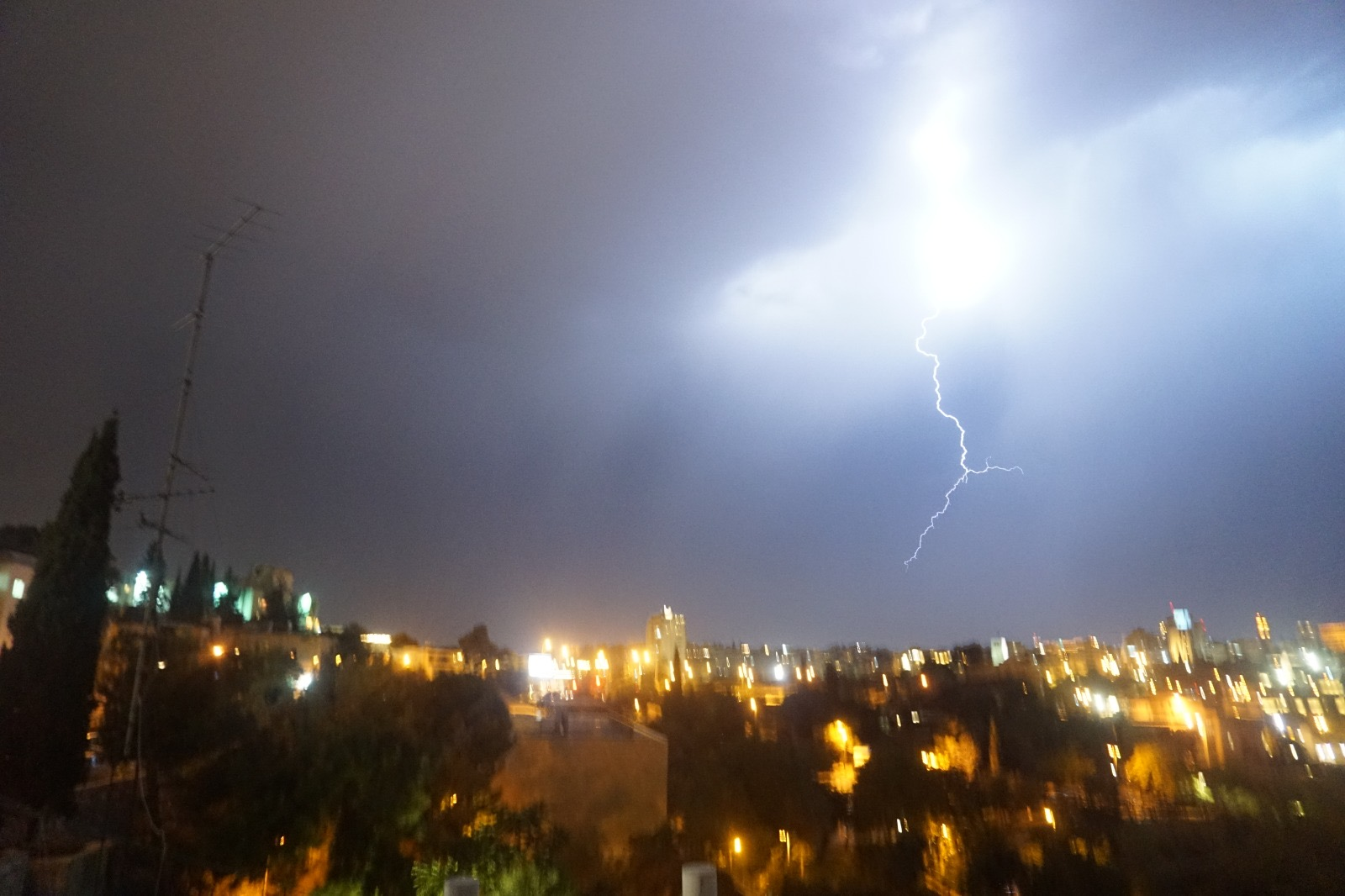 A lightning flash over the city of Jerusalem.