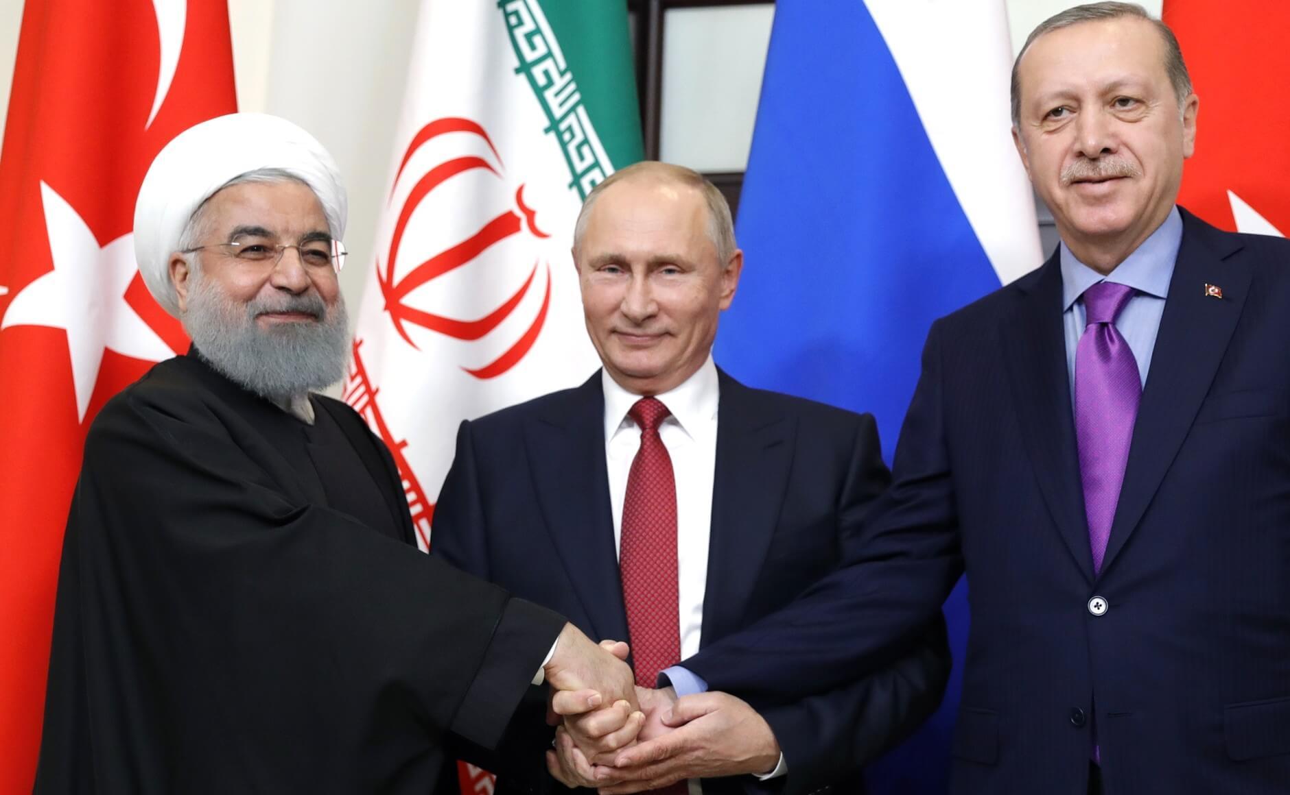 Vladimir Putin, Hassan Rouhani, and Recep Tayyip Erdoğan in Russia, 2017