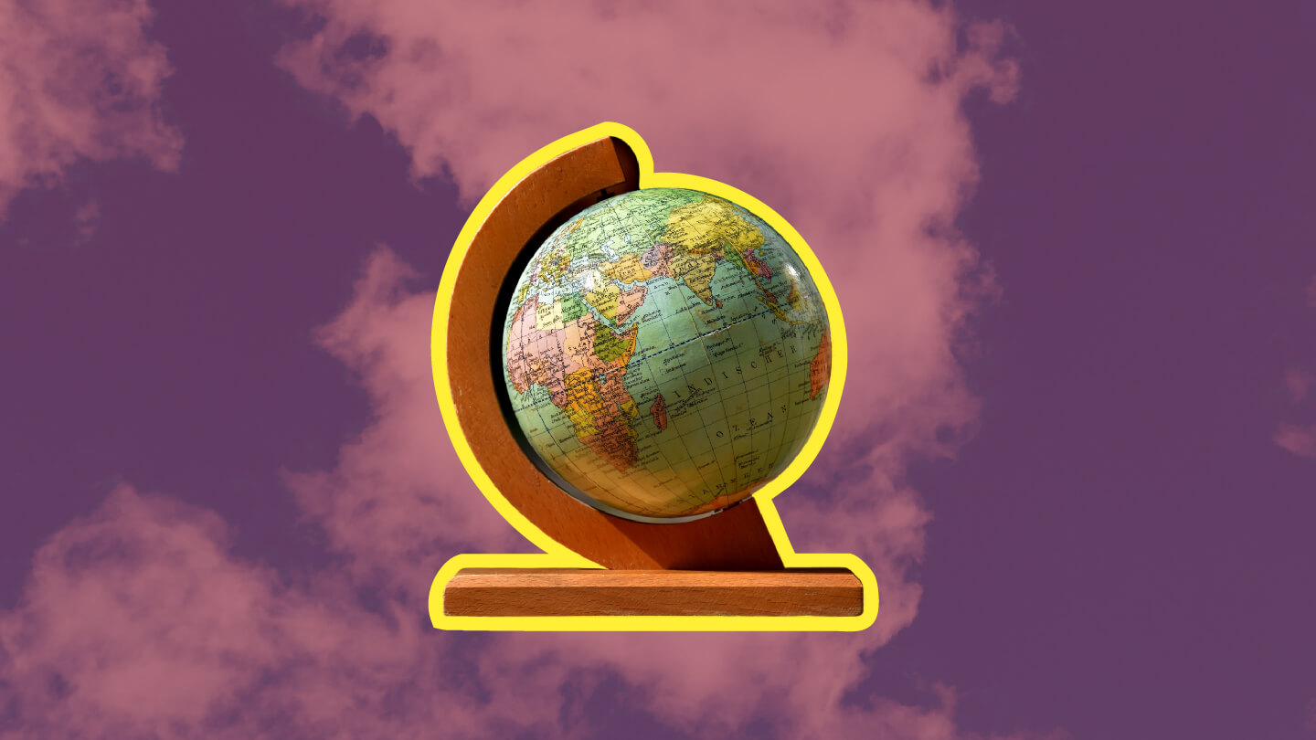 A globe with a background of clouds, signifying a vision of Christ's government in the world